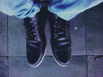Photo of Man Wearing Black Leather Shoes Royalty Free Stock Photos