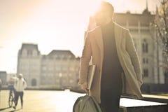 Photo of Man Wearing Brown Coat Royalty Free Stock Image