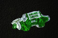 Photo-manipulated image of fatal dangers of drinking and driving. stock photography