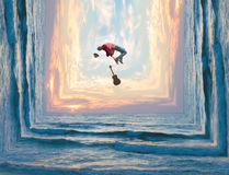 Photo manipulation of a flying musician with a red jacket, hat a Royalty Free Stock Photos