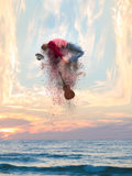 Photo manipulation of a talented musician`s energy dispersing an Stock Photos