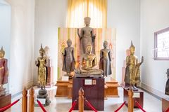 Many styles of Buddha statue in the old historical national musuen in Ayudhaya, Thailand February 15, 2018. Photo of Many styles of Buddha statue in the old royalty free stock photography