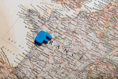 Photo of map of France and blue letter on the wonderful backgrou Stock Photography