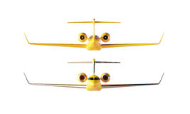 Photo Matte Yellow Luxury Generic Design Private Airplane Model. Clear Mockup Isolated Blank White Background.Business royalty free stock image