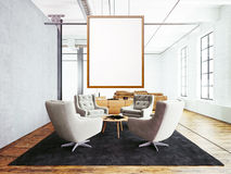 Photo of meeting room interior in modern loft building. Empty white canvas hanging on the wood frame. Wood floor, table Stock Photography
