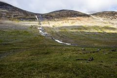 Melting snow, in the end of summer, Swedish Lapland. Photo of melting snow, in end of summer. Swedish Lapland royalty free stock photo