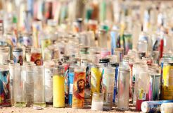 Memorial candles, Las Vegas. Photo memorial candles for the Oct. 1 shooting victims. Candles located at the historic Welcome to Las Vegas Sign Stock Images