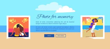 Photo for Memory Poster with Couples and Text. Photo for memory poster with text and couples in love that spend their vacation together and kiss or hug on beach stock illustration