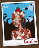 Portrait with Young Woman Picture Celebrating Tomatina Festival, Vector Illustration. Photo with the memory of Tomatina Festival with young smiling woman covered Stock Photos