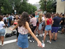 Big Crowd at the Capital Pride Parade in Washington DC. Photo of men and women at the capital pride parade in washington dc on 6/9/18.  This parade takes place Stock Photo