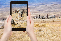 Photo of menhirs Zorats Karer monument in Armenia Stock Photography