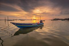 Photo merveilleuse de coucher du soleil chez Batam Indonésie bintan image libre de droits