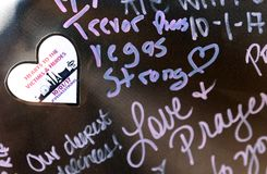 Memorial writing for Las Vegas shooting victims Stock Photography