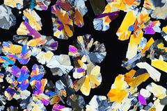 Colorful micro crystals in polarized light. Photo through a microscope. Photo through a microscope of crystals grown from a solution of citric acid in alcohol vector illustration