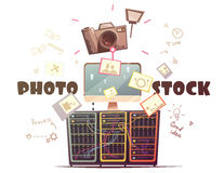 Photo Microstock Industry Concept Retro Illustration Stock Images