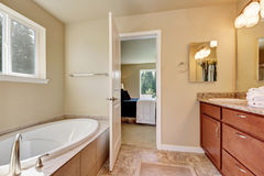 Photo of a mid-sized bathroom with wood cabinets Stock Photo