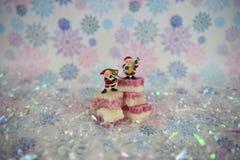Photo mignonne de photographie de nourriture de Noël avec les bonbons anglais démodés à glace de noix de coco avec la musique de  images stock