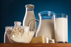 Photo of milk products. Royalty Free Stock Photos