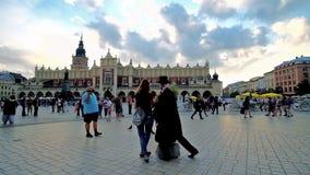 Photo with mime artist, Krakow, Poland stock footage