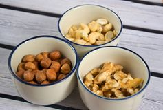 Some mixed nuts. A photo of mixed nuts Stock Photography