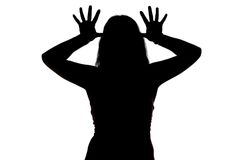 Photo of mocking woman's silhouette Royalty Free Stock Images