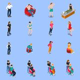 Photo Model Agency Isometric People. Photo model agency set of isometric people posing for camera on blue background isolated vector illustration Stock Image