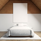 Photo of moder bedroom in chale house. Empty white canvas hanging on the wood wall and classic double bed wooden floor Royalty Free Stock Photos