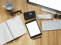 Photo of modern workspace with desktop screen Stock Photography
