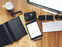Photo of modern workspace with desktop screen Royalty Free Stock Image