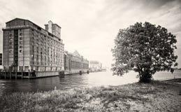 Photo monochrome du Silodam à Amsterdam, Pays-Bas Image libre de droits