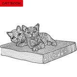 Photo monochrome, livre de coloriage pour des adultes - livre de chat, modèles de griffonnage Photographie stock