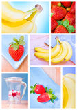 Photo montage with strawberries and bananas Stock Photography