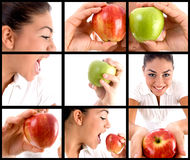 Photo montage of  woman eating apple Royalty Free Stock Photos