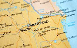 A photo of Monterrey on a map royalty free stock photos