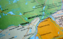 A photo of Montreal on a map royalty free stock photos