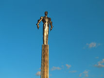 Photo monument to Gagarin. On Leninsky Prospekt in Moscow Royalty Free Stock Image