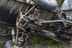 Photo of moped engine without casing. Why Because has breakage and scooter owner repair it now. Royalty Free Stock Photo