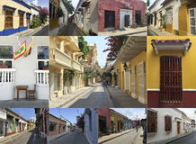 Photo mosaic collage of Cartagena, Colombia Royalty Free Stock Images