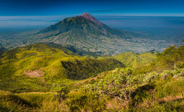 Photo of mountain of ashes. Panoramic photo of  Mount Merbabu, mountain of ashes, near Yogya in central Java province in Indonesia. In this region, one can only Royalty Free Stock Photos