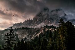 Photo of Mountain With Ice Covered With Black and Gray Cloud Royalty Free Stock Image