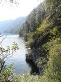 Photo mountain lake. In the summer morning Stock Photos