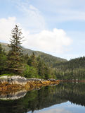 Photo of a mountain and trees refelcting into the water Royalty Free Stock Photo