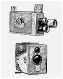 Photo movie or film camera vintage, engraved, hand drawn in sketch or wood cut style, old looking retro lens, isolated. Vector realistic illustration Royalty Free Stock Photo