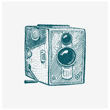 Photo movie or film camera vintage, engraved, hand drawn in sketch or wood cut style, old looking retro lens, isolated. Vector realistic illustration Stock Image