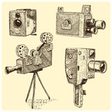 Photo movie or film camera vintage, engraved, hand drawn in sketch or wood cut style, old looking retro lens,. Vector realistic illustration Stock Photo