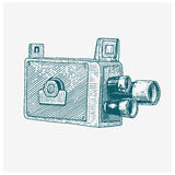 Photo movie film camera vintage, engraved hand drawn in sketch or wood cut style, old looking retro lens,. Vector realistic illustration Royalty Free Stock Photos