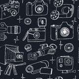 Photo and movie hobby cameras seamless pattern Stock Images