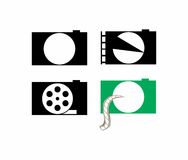 Photo movie reel icons. A set of icons that combine elements of movie and photography that can be used also as logos Royalty Free Stock Photos