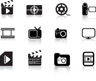 Photo and multimedia icon set Royalty Free Stock Photos