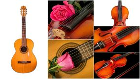 Photo of musical instruments, guitar and violin. royalty free stock images